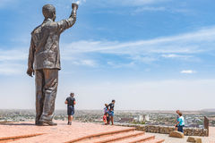 Bronze statue of Nelson Mandela on Naval hill. BLOEMFONTEIN, SOUTH AFRICA, DECEMBER 21, 2015: The 6.5m bronze statue of Nelson Mandela on Naval hill in Stock Image