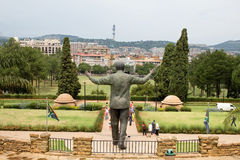 Bronze statue of Nelson Mandela. PRETORIA, SOUTH AFRICA - MARCH 22, 2015: Unidentified people take images of the nine metre tall bronze statue of former Royalty Free Stock Image