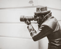 Bronze statue of a paparazzi in Bratislava, Slovakia Royalty Free Stock Image