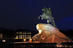 Bronze statue of Peter the great on a horse Royalty Free Stock Photography
