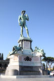 Bronze statue at Piazzale Michelangelo in Florence. Piazzale Michelangelo (Michelangelo Square) is a famous square with a magnificent panoramic view of Florence Royalty Free Stock Photography