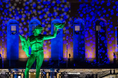 Bronze Statue of Poseidon in Sweden with colorful light show 2 Royalty Free Stock Photography