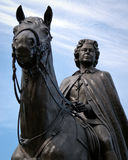 Bronze Statue of Queen Elizabeth II On Horseback. Close-up of an historic bronze statue located on the grounds of Parliament Hill, in Ottawa, Ontario, Canada Stock Photo