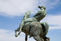 Bronze statue, Rhodes Memorial. Bronze statue of a horseman, Rhodes Memorial in Cape Town Stock Photos