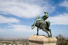 Bronze statue, Rhodes Memorial. Bronze statue of a horseman, Rhodes Memorial in Cape Town Stock Photography