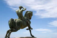 Bronze statue, Rhodes Memorial. Bronze statue of a horseman, Rhodes Memorial in Cape Town Royalty Free Stock Photos