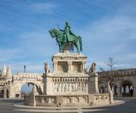 Bronze statue of Saint Stephen near the Fishermans Bastion, Budapest, Hungary. Equestrian statue of King Stephen royalty free stock image