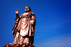 A bronze statue of Sakyamuni. In Wuxi lingshan Buddha,The 88 meters high bronze buddha stock photography