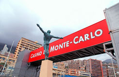 Bronze statue and signboard, Monaco, Monte-Carlo. Stock Images