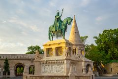 A bronze statue of Stephen of Hungary in Budapest city, Hungary royalty free stock photo