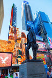 Bronze statue on Times Square in Manhattan, NYC. New York City, USA - October 06, 2015: statue called Give My Regards to Broadway of George M Cohan on Duffy Royalty Free Stock Image