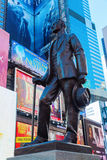 Bronze statue on Times Square in Manhattan, NYC. New York City, USA - October 06, 2015: statue called Give My Regards to Broadway of George M Cohan on Duffy Royalty Free Stock Photos