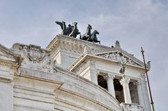 Bronze statue of Winged Victory on Vittoriano Emanuele Monument. In central Rome, Italy Royalty Free Stock Image