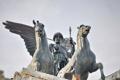 Bronze statue of Winged Victory on Vittoriano Emanuele Monument. In central Rome, Italy Stock Photo