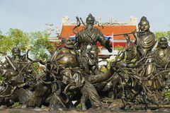 Bronze statues at the Anek Kusala Sala Viharn Sien Chinese temple in Pattaya, Thailand. PATTAYA, THAILAND - MAY 29, 2009: Exterior of the bronze statues at the royalty free stock photography