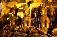 The bronze statues of Buddha. In Wat Jedi Luang at Chiang mai, Thailand Stock Photography