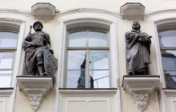 Bronze Statues on the Facade of a Palace Stock Image