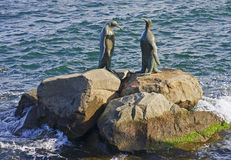Bronze statues located in the port of Hobart Royalty Free Stock Photos