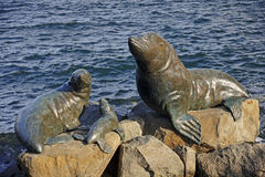 Bronze statues located in the port of Hobart Royalty Free Stock Photo