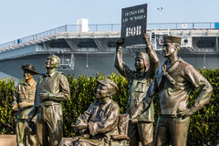 Bronze Statues of US Military Personnel in San Diego. SAN DIEGO, CALIFORNIA - FEBRUARY 29, 2016: Bronze statues of US military personnel in artwork entitled, `A royalty free stock images