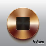 Bronze stop button with black symbol. Round stop button with black symbol and brushed bronze texture isolated on gray background Stock Photos