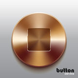 Bronze stop button. Round stop button with brushed bronze texture isolated on gray background Stock Photos