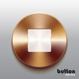 Bronze stop button with white symbol. Round stop button with white symbol and brushed bronze texture isolated on gray background Royalty Free Stock Images