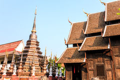 Bronze stupa in phann tao temple. The very old wooden temple in chiang mai, thailand Stock Photo