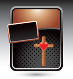 Bronze stylized advertisement with cross and heart Stock Photos