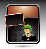 Bronze stylized template with army man Royalty Free Stock Photography