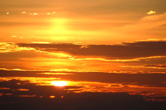 Bronze sunrise. Cloudy sky with a many colors Royalty Free Stock Images