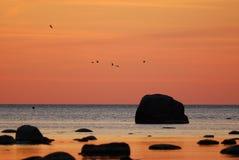 Bronze sunset. Over the Bay of Tallinn Royalty Free Stock Image