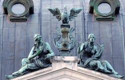 Bronze symbolic sculpture . Solomiya Krushelnytska Lviv State Ac Royalty Free Stock Photos