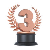 Bronze Third Place Trophy Royalty Free Stock Images