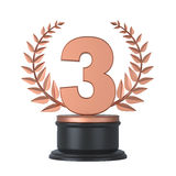 Bronze Third Place Trophy Royalty Free Stock Photography