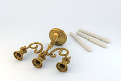 Bronze triplo do candelabro Fotografia de Stock
