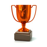 Bronze trophy star cup. 3d illustration on white background Stock Photography