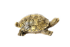 Bronze turtle isolated on white background. Bronze traditional chinese turtle isolated on white background. Feng Shui statuette Royalty Free Stock Images