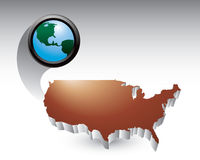 Bronze united states icon with globe Royalty Free Stock Images