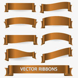 Bronze various curved empty ribbon banners eps10 Royalty Free Stock Photography