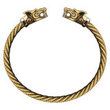 Bronze Viking bracelet with wolf heads Royalty Free Stock Photography
