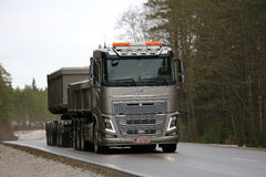 Bronze Volvo FH16 Combination Truck Hauls Limestone Royalty Free Stock Image