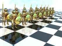 Bronze warriors on the chess-board Royalty Free Stock Images