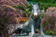 Bronze wild boar statue, Butchart Gardens Royalty Free Stock Image