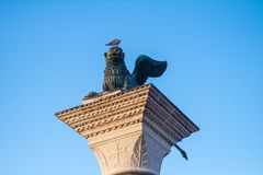 Bronze Winged Lion Column Royalty Free Stock Photography