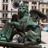 Bronze Winged Lion Statue in St. Mark`s Square, Venice, Italy Stock Images
