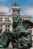 Bronze Winged Lion Statue in St. Mark's Square, Venice, Italy Stock Image