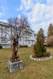 Bronze woman statue in the park . Cold day, nobody in the park, Royalty Free Stock Photos