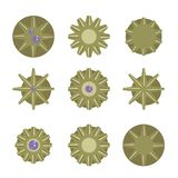 Bronze yellow round metal awards medals gear with a purple stone vector illustration