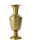 Bronze yellow vase on a white background. Bronze yellow vase with ornament on a white background stock images